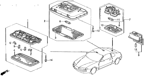 1996 prelude SI 2 DOOR 5MT INTERIOR LIGHT diagram
