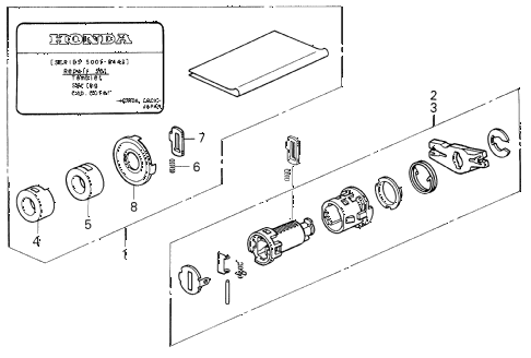 1995 prelude SI(SE) 2 DOOR 4AT KEY CYLINDER KIT diagram