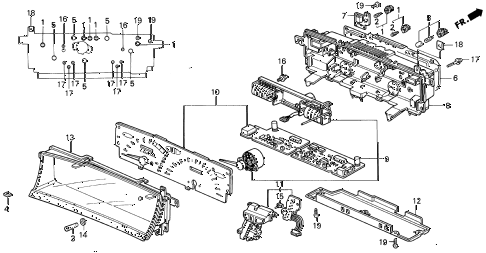 1992 prelude SI(4WS) 2 DOOR 4AT METER COMPONENTS (1) diagram