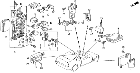 1994 prelude SI 2 DOOR 4AT CONTROL UNIT (CABIN) diagram