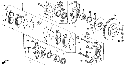 1992 prelude SI(4WS) 2 DOOR 5MT FRONT BRAKE (1) diagram