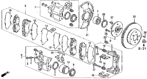 1996 prelude SIVTEC 2 DOOR 5MT FRONT BRAKE (2) diagram