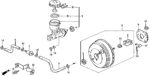 1996 prelude SI 2 DOOR 4AT BRAKE MASTER CYLINDER  - MASTER POWER (1) diagram