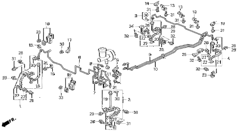 1996 prelude S 2 DOOR 4AT BRAKE LINES (1) diagram