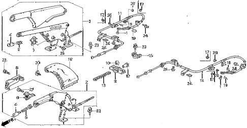 1994 prelude S 2 DOOR 4AT PARKING BRAKE diagram