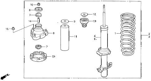 1994 prelude SI(4WS) 2 DOOR 4AT FRONT SHOCK ABSORBER diagram