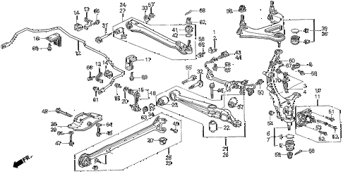 1996 prelude S 2 DOOR 4AT REAR LOWER ARM diagram