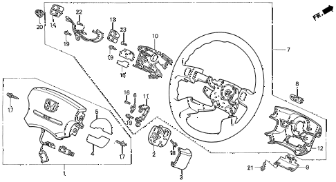 1994 prelude SI(4WS) 2 DOOR 4AT STEERING WHEEL (SRS) diagram
