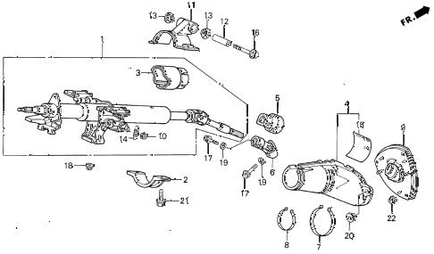 1995 prelude S 2 DOOR 5MT STEERING COLUMN diagram