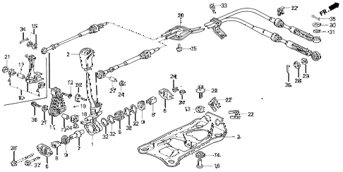 1992 prelude SI(4WS) 2 DOOR 5MT SHIFT LEVER diagram