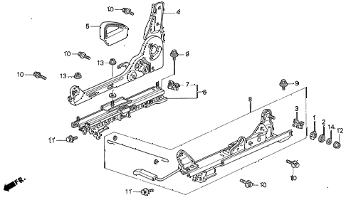 1993 prelude S 2 DOOR 5MT RIGHT FRONT SEAT COMPONENTS diagram