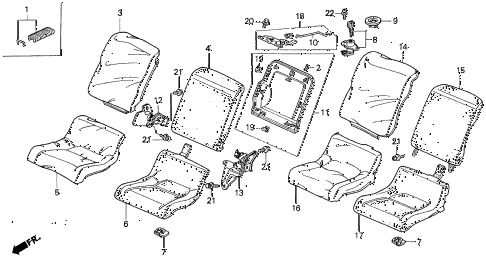 1994 prelude SI(4WS) 2 DOOR 5MT REAR SEAT diagram