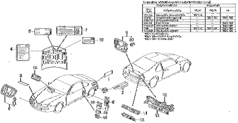 1995 prelude SI(SE) 2 DOOR 4AT EMBLEMS diagram