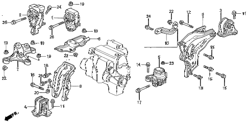 1996 prelude S 2 DOOR 4AT ENGINE MOUNT diagram