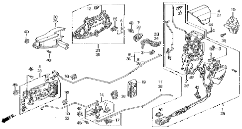 1993 prelude SI(4WS) 2 DOOR 4AT DOOR LOCK diagram