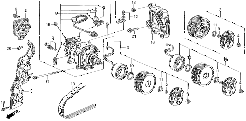 1994 prelude S 2 DOOR 5MT A/C COMPRESSOR (SANDEN) diagram