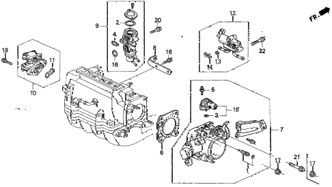 1992 prelude S 2 DOOR 5MT THROTTLE BODY (1) diagram