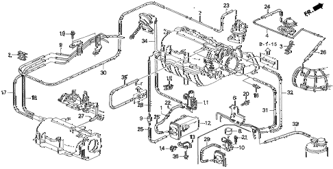 1993 prelude SI(4WS) 2 DOOR 4AT INSTALL PIPE - TUBING (2) diagram