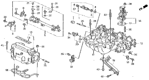 1992 prelude S 2 DOOR 5MT INTAKE MANIFOLD (1) diagram