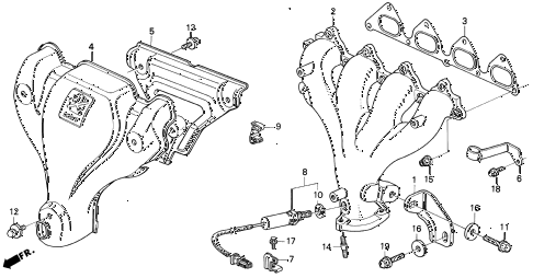 1992 prelude S 2 DOOR 5MT EXHAUST MANIFOLD (1) diagram