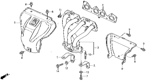 1994 prelude SIVTEC 2 DOOR 5MT EXHAUST MANIFOLD (3) diagram