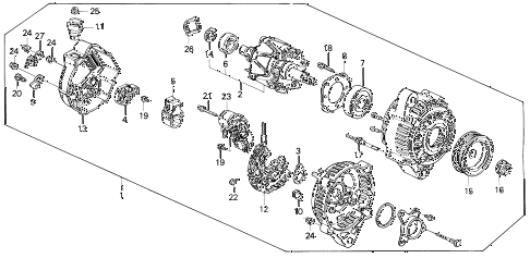1993 prelude SI(4WS) 2 DOOR 5MT ALTERNATOR (DENSO) diagram