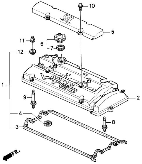 1993 prelude SIVTEC 2 DOOR 5MT CYLINDER HEAD COVER (VTEC) diagram