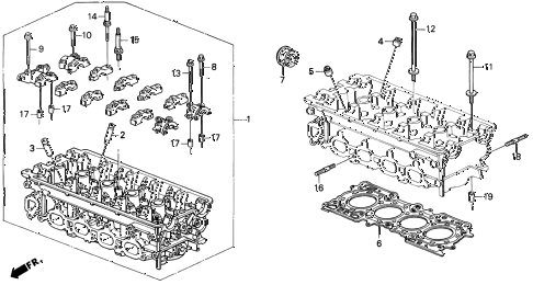 1995 prelude SI 2 DOOR 4AT CYLINDER HEAD (2) diagram