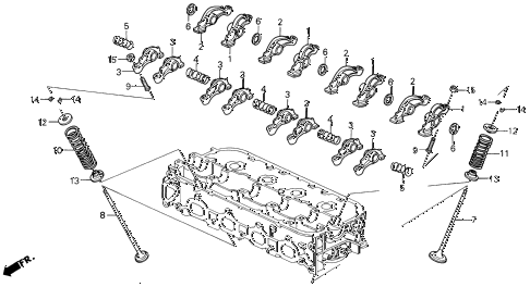 1995 prelude S 2 DOOR 4AT VALVE - ROCKER ARM (1) diagram