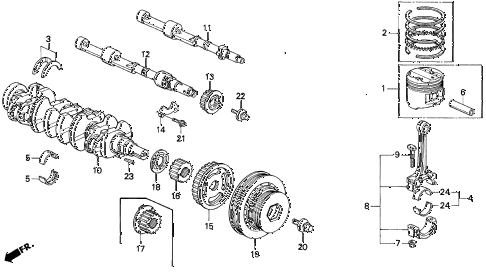 1992 prelude S 2 DOOR 5MT CRANKSHAFT - PISTON diagram