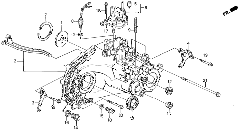 1993 prelude SI 2 DOOR 5MT MT TRANSMISSION HOUSING diagram