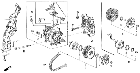 1994 prelude S 2 DOOR 4AT A/C COMPRESSOR (HADSYS) diagram