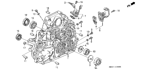 1994 accord EX(LEATHER) 2 DOOR 4AT AT TORQUE CONVERTER HOUSING diagram
