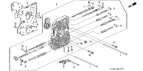 1997 accord EX 2 DOOR 4AT AT MAIN VALVE BODY diagram