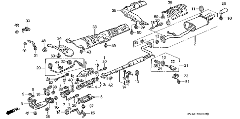 1995 accord EX 2 DOOR 5MT EXHAUST PIPE (1) diagram