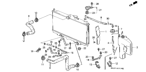 1994 accord EX 2 DOOR 5MT RADIATOR HOSE diagram