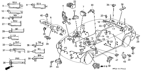 1994 accord LX 2 DOOR 5MT WIRE HARNESS diagram