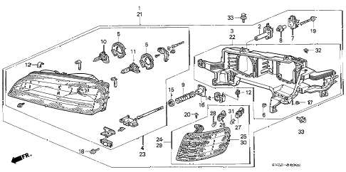 1995 accord LX(ABS) 2 DOOR 4AT HEADLIGHT diagram