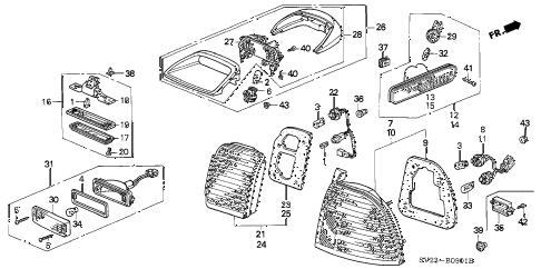 1996 accord LX(ABS) 2 DOOR 5MT TAILLIGHT (2) diagram