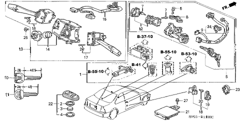 1994 accord EX(LEATHER) 2 DOOR 5MT COMBINATION SWITCH diagram