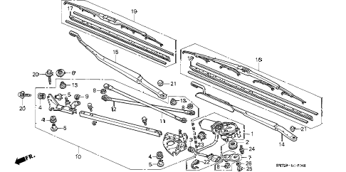 1994 accord LX(ABS) 2 DOOR 5MT FRONT WINDSHIELD WIPER diagram