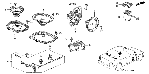 1996 accord EX 2 DOOR 5MT RADIO ANTENNA - SPEAKER (1) diagram