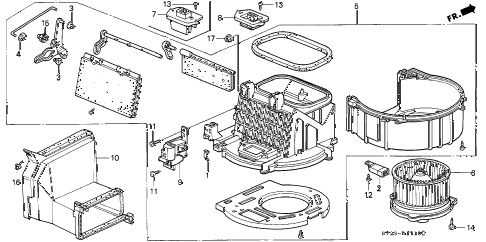 1994 accord LX(ABS) 2 DOOR 5MT HEATER BLOWER diagram