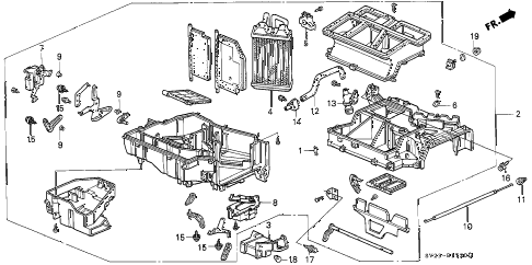 1994 accord DX(ABS) 2 DOOR 4AT HEATER UNIT diagram