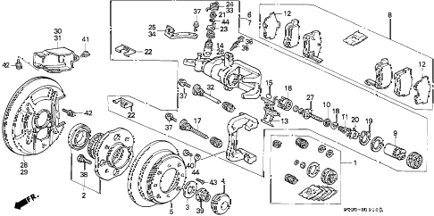 1997 accord EX(LEATHER) 2 DOOR 4AT REAR BRAKE (DISK) (1) (NISSIN) diagram