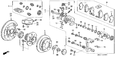 1997 accord EX(LEATHER) 2 DOOR 4AT REAR BRAKE (DISK) (2) (AKEBONO) diagram