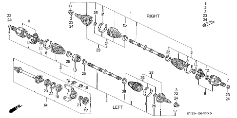 1994 accord EX(LEATHER) 2 DOOR 5MT DRIVESHAFT diagram