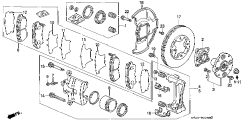1994 accord DX(ABS) 2 DOOR 5MT FRONT BRAKE diagram