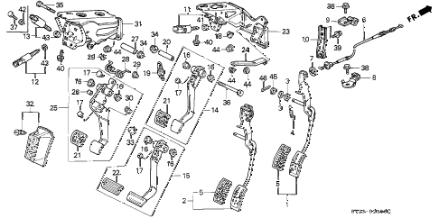 1994 accord DX(ABS) 2 DOOR 4AT PEDAL diagram