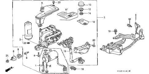1996 accord EX 2 DOOR 5MT ABS MODULATOR diagram